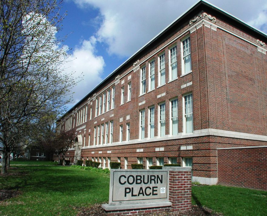 Front of Coburn Place building with sign